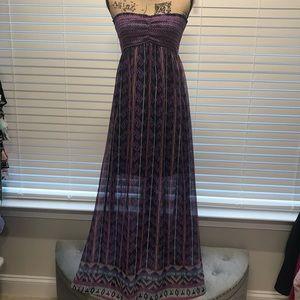 Love fire strapless maxi dress m, NWT